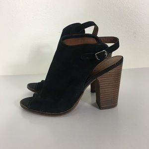 Lucky Brand Black Leather Open Toe Heeled Sandals